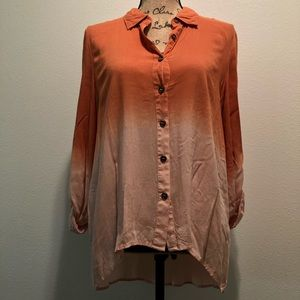 Orange ombré long sleeve light button up